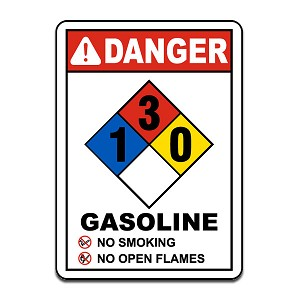 "Safety Label - Danger Gasoline No Smoking No Open Flames NFPA Rating 1-3-0, 7""x10"""